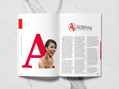 Alzerina bio mockup magazine design typography