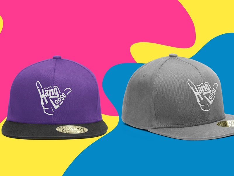 Hang loose hat mockup photoshop design branding