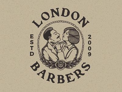 LONDON BARBERS barber vector barbershop typography badge design graphicdesign logo design apparel illustration clothing branding