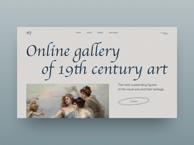 Online gallery of 19th century art art concept clean design design web-design typography designer web ui