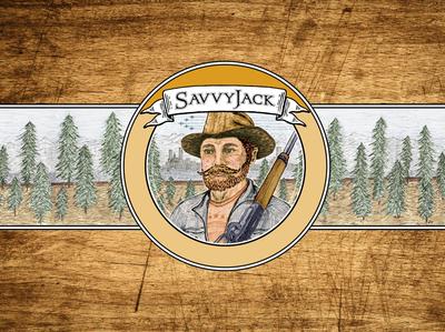 SavvyJack logo variation over wood grain