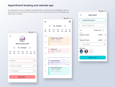 Appointment booking and calendar app ux ui mobile design design mobile app app