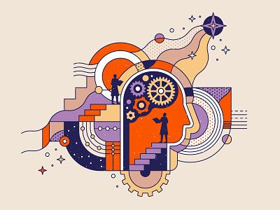 Psychology Course Illustration spaceship pattern texture lineart geometry brain illustrator intellect cosmos mechanic mechanism machinery scientist science psychology mind postmodern design illustration