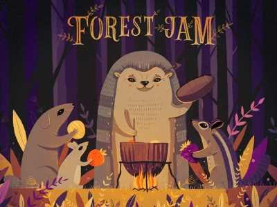 Hello dribble! postcard autum jam chipmunk rat violet art illustration hedgehog forest friends fire