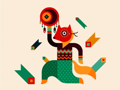 Fox - character for festival identity fox mask ornament feather tribal tribe ethno drum shaman fire music cute animal artist hippie character illustration