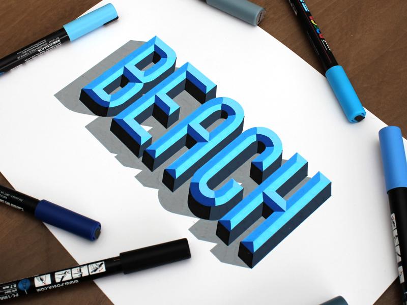 Beach please bevels typography type beach posca handlettering lettering