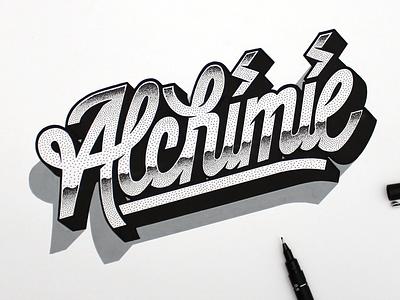Alchimie. artwork design typography type dot stippling lettering handlettering