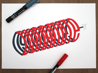 Dynamite red typography handlettering dynamite lettering effect 3d