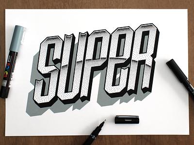 Super typography type super lettering pointillsim dotwork handlettering