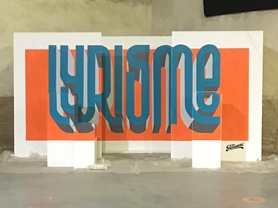 Anamorphosis mural acrylic paint mural typography lettering anamorphosis