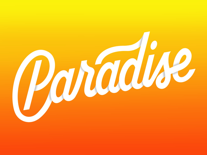 Paradise procreate gradient typography handlettering lettering paradise
