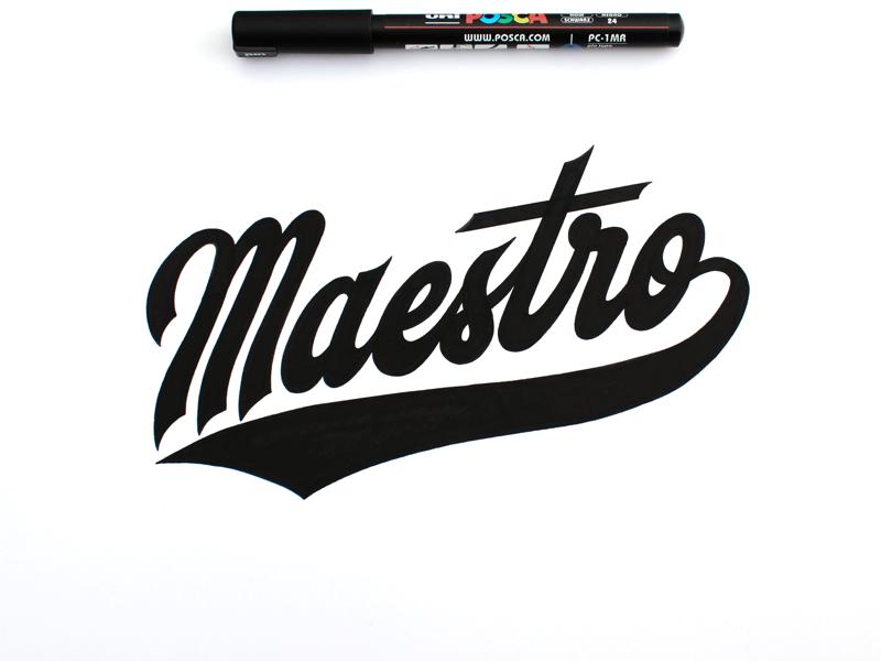 Maestro maestro script logo typography posca lettering handlettering