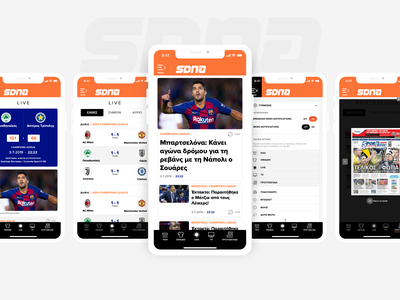 SDNA Sports News Portal Native App android ios ui  ux design teams sports smart sdna scores players personalization news portal navigation menu app design match content articles