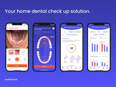 Smiletronix App UI Design ui design educational resources appointments teledentistry tracking teeth smiletronix reports oral mouth healthcare health ios diagnosis dentist dental check-up app analysis ai