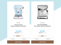 Barista professional coffee equipment product e-shop cards