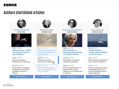 Ethnos Authors Shortlisted Articles ui ux design content related reporter author article portal website newspaper news