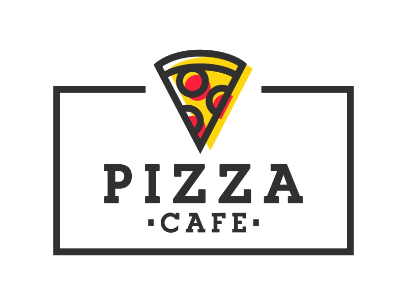 Label Pizza Cafe eat food italian logo cafe pizza label