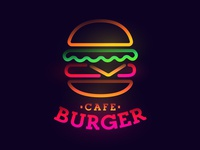 Color burger logo signboard signage sign vector cafe emblem label logo neon abstract color
