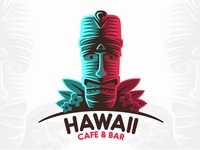 Logo Hawaii holiday tropical ocean beach summer hawaii tiki bar cafe logo