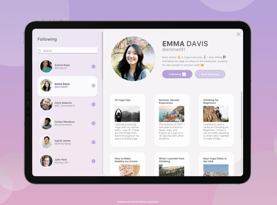 Profile View — iPad Edition — Daily UI #006