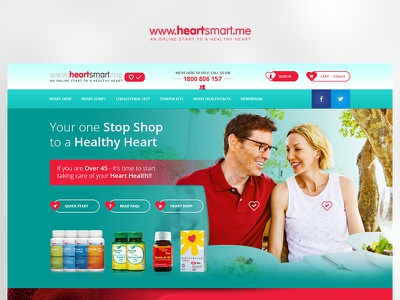 HeartSmart yellow fun app case study photoshop website web redesign project ux ui design