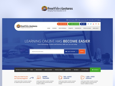 Free Video Lectures app fun blue case study photoshop website web redesign project ux ui design