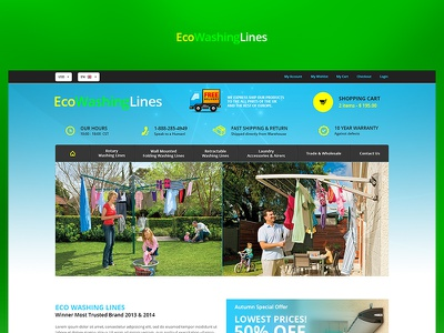 Eco Washing Lines green app fun blue case study photoshop website web redesign project ux ui design