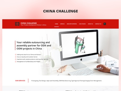 China Challenge red app fun case study photoshop website web redesign project ux ui design