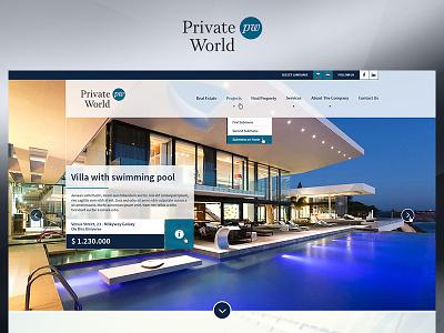 Private World app blue fun case study photoshop website web redesign project ux ui design