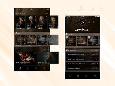 Classical Shot photoshop project ux ui design app design pentagram musician music classical music classic app