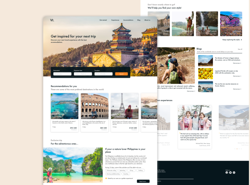 Vt. agency - Travel service website uidesign landing pages landing page trip invisionapp sketch app web design travel agency travel