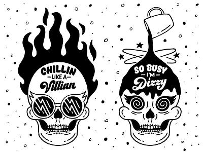Office Door Hanger Freebie chillin like a villain illustration lettering so busy coffee fire skull freebie free