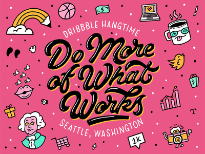 I'm Speaking at Dribbble Hangtime Seattle hand drawn icons typography seattle camera pencil coffee washington conference hand lettering lettering speaking