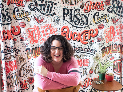 Hi, I'm Dina! redbubble tapestry custom type asshole cunt dick shit fuck typography hand lettering curse words lettering
