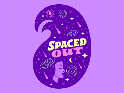 Spaced Out Girl Head typography custom type enamel pin apparel sticker stars galaxy space woman girl head hand lettering lettering