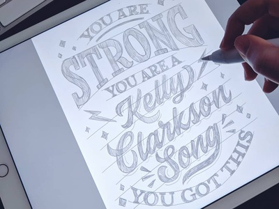 You Are Strong! tv lettering jonathan van ness gay pride queereye apple pencil mixed lettering script song you got this serif astropad digital lettering strong you are strong kelly clarkson ipadpro hand lettering type typography lettering