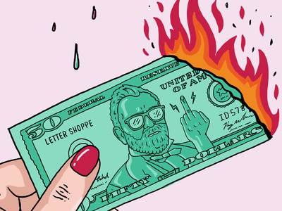 Dear artists, your work has value! flame reduce green burning fuck you middle finger holidays art value discount sales cybermonday blackfriday dollar dollar bill 50 fire money christmas illustration