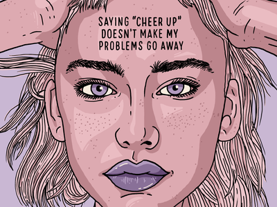 Cheer Up portrait eyes face mentalhealth self care self help anxiety depression depressed mental health babememe babe woman girl letters illustration type hand lettering typography lettering
