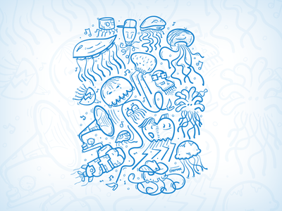 B-boys, divas, rastas, prepboys, dorks, tweakers, skaters. jellyfish illustration