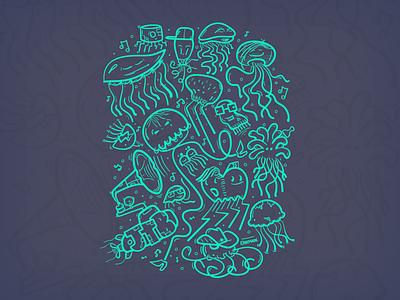 B-boys, divas... colour selection. jellyfish illustration
