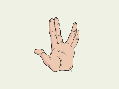 Live long & prosper :) star trek print poster hand spock illustration