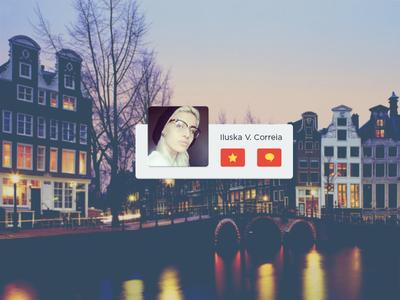 Profile landscape photo info mobile ui user interface profile avatar flat glyph app