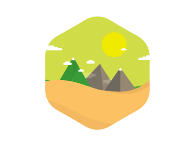 A sunny landscape flat circle shape illustration badge icon nature illustrator vector