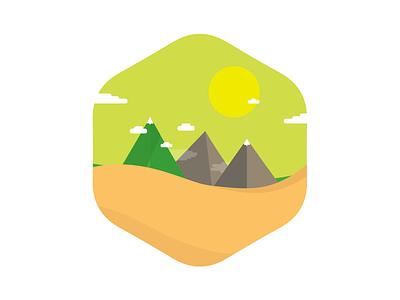 A sunny landscape flat circle shape illustration badge icon nature illustrator vector