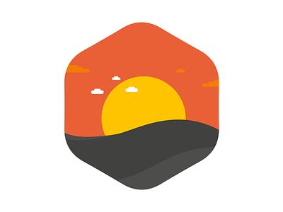 Warm Sunset flat nature icon illustration badge illustrator shape vector