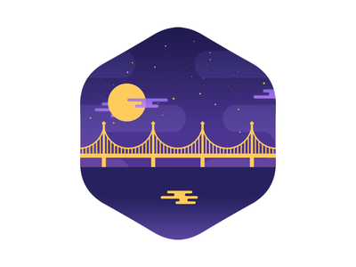 The moon doth shine as bright as day flat nature icon illustration badge shape vector city landscape night