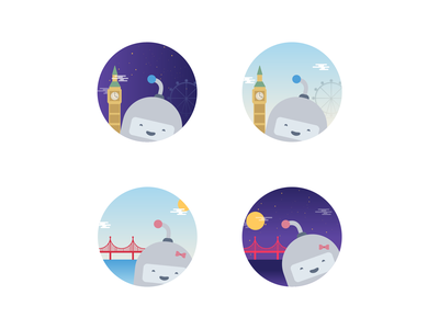 Guidebook Offices city san francisco london badge icon flat guidebook