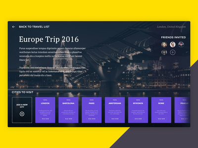 TRVLR dashboard dailyui trip social product widget travel ui flat