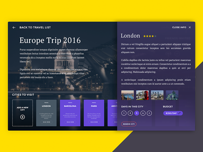 TRVLR  //  City Info dailyui trip social product widget travel ui flat