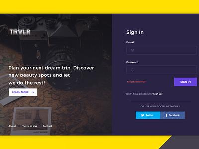 TRVLR  //  Sign In Screen login sign up dailyui flat uiux travel widget product social trip